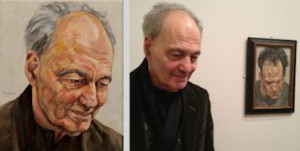 Frank Auerbach voor zijn portret dat in 1976 is geschilderd door Lucian Freud