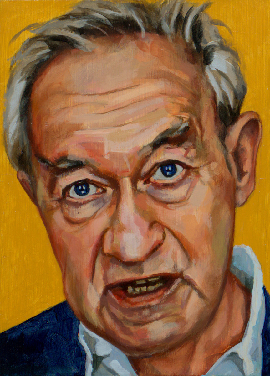 Simon Schama, portret drieluik links